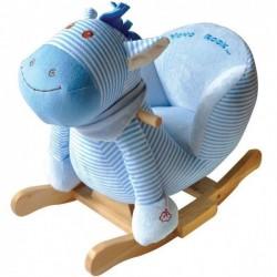 Niebieski konik bujak na biegunach z fotelikiem