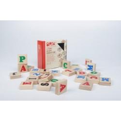 Klocki drewniane literki 27szt. (54 literki), nauka i zabawa w jednym