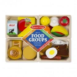 Jedzenie drewniane - 4 rodzaje w skrzynkach
