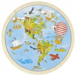 Puzzle dwustronne mapa Świata Peggy Diggledey