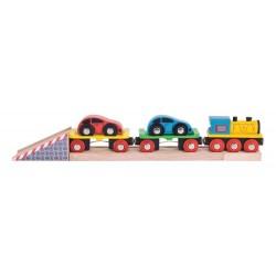 Pociąg transportowy z lawetą