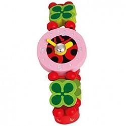 Zegarek drewniany biedronka