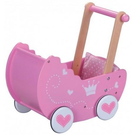 Drewniany różowy wózek dla lalek HIT