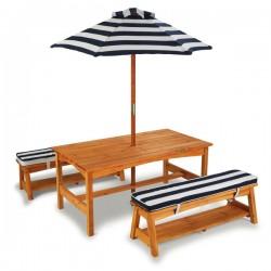 KIDKRAFT Stół i Ławki z Kolorowym Parasolem