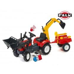 FALK Traktor RANCH z przycz. koparką lem czerwony