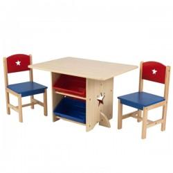 KIDKRAFT Drewniany Stół i 2 Krzesła Gwiazdka Star