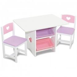 KIDKRAFT Drewniany Stół i 2 Krzesła Serduszko