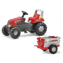 Rolly Toys Traktor Junior RT Czerwony z Przyczepą