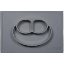 EZPZ - Silikonowy talerzyk z podkładką 2w1 Happy Mat szary