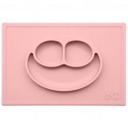EZPZ - Silikonowy talerzyk z podkładką 2w1 Happy Mat pastelowy róż