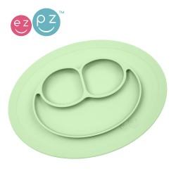 EZPZ - Silikonowy talerzyk z podkładką mały 2w1 Mini Mat pastelowa zieleń