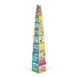 Janod - Piramida wieża 10 kostek Przyjaciele z miasta