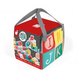 Janod - Klocki drewniane z matą do zabawy Kubix 40 sztuk litery i cyfry