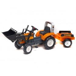 FALK Traktor RANCH Pomarańczowy z Przyczepą i Łyż