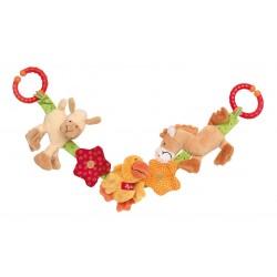 SIGIKID - Miękki łańcuch do wózka Zwierzęta na farmie z grzechotką, dzwoneczkiem, piszczałką i szeleszczącą folią