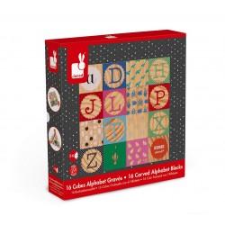 Janod – Klocki drewniane Kubix 16 sztuk Alfabet