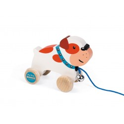 Janod – Piesek drewniany do ciągnięcia Bulldog