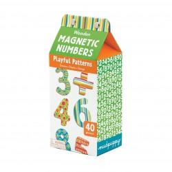 Mudpuppy - Zestaw drewnianych magnesów w kolorowe wzory Liczby 40 elementów