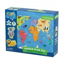 Mudpuppy – Puzzle zestaw z 8 figurkami Zwierzęta Świata 3+