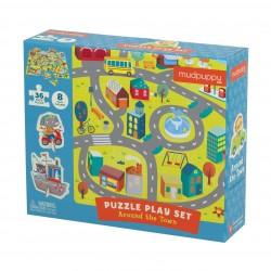 Mudpuppy – Puzzle zestaw z 8 figurkami W mieście 3+