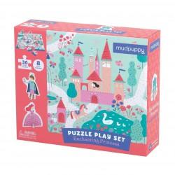Mudpuppy – Puzzle zestaw z 8 figurkami Księżniczka 3+