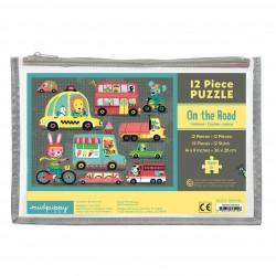 Mudpuppy - Puzzle w saszetce Pojazdy 12 elementów 2+