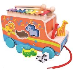 Autobus sorter ze zwierzętami i ksylofonem