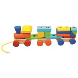 Pociąg z dwoma wagonami z klocków