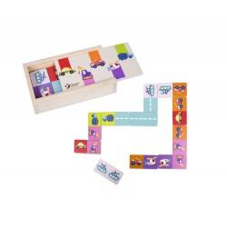 Drewniane domino kolorowe z pojazdami