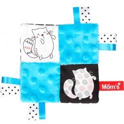 Szmatka-przytulanka Szeleścik z kotkiem niebieski