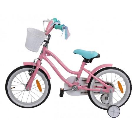 """Rowerek BMX 16"""" Gwiazdka - różowo z turkusowym siodełkiem"""
