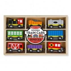 Drewniany pociąg z wagonikami w skrzynce