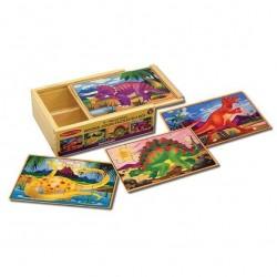 Drewniane puzzle – zestaw 4 obrazków – Dinozaury