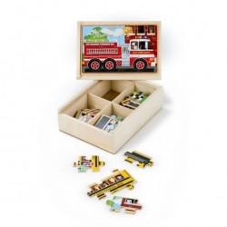 Drewniane puzzle – zestaw 4 obrazków – pojazdy