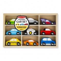 Zestaw drewnianych samochodów zestaw 9 sztuk