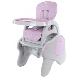 Krzesełko do karmienia 2w1 piesek szaro - różowy