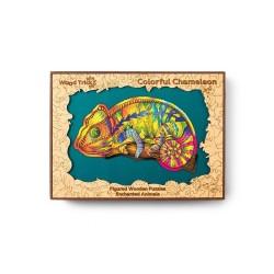 Puzzle drewniane kameleon