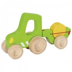 Zielony traktor z przyczepką