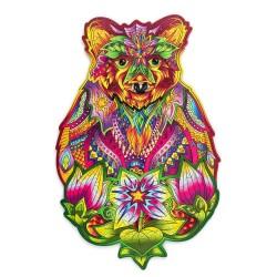 Puzzle drewniane kolorowe Niedźwiedź