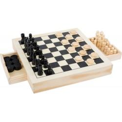 Zestaw gier drewnianych 3 w 1 - Szachy, Warcaby, Młynek