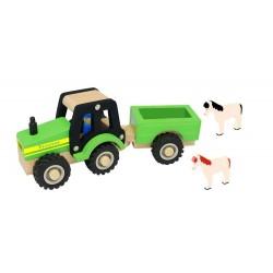 Drewniany traktor z przyczepką