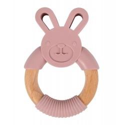 Gryzak silikonowy różowy króliczek