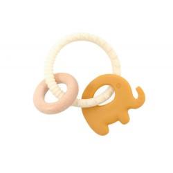 Gryzak silikonowy Żółty Słoń z drewnianą obręczą