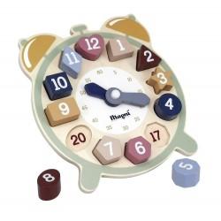 Zegar skandynawski drewniany z klockami