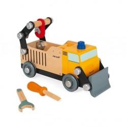 Janod - Drewniana ciężarówka budowlana do składania z narzędziami Brico'kids