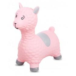 Skoczek lama gumowy - różowy