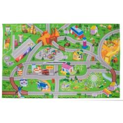 Mata City z autkami i znakami drogowymi 124x161 cm
