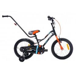 Rowerek dla chłopca 16 cali Tiger Bike z pchaczem czarno - pomarańczow - turkusowy