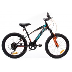 Rowerek dla chłopca 20 cali Tiger Bike z amortyzatorem czarno - turkusowo - szaro - pomarańczowy