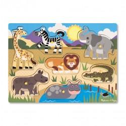 Drewniane puzzle – układanka – Zwierzęta safari